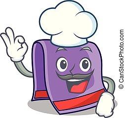 chef cuistot, maison, serviette, dessin animé, cuisine