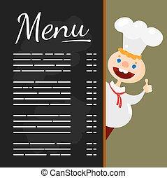 chef cuistot, menu, heureux, tableau noir