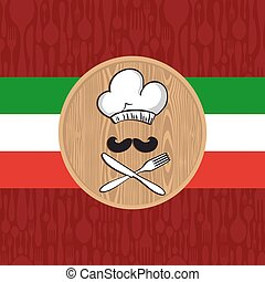 chef cuistot, menu, italien, conception, restaurant