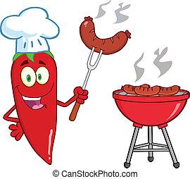 chef cuistot, mignon, poivre piment, rouges