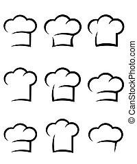 chef cuistot, noir, ensemble, chapeau