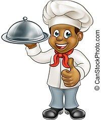 chef cuistot, noir, plat, caractère, dessin animé
