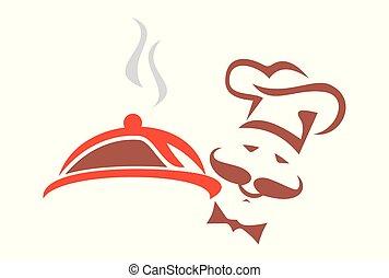 chef cuistot, nourriture, boulangerie, logo