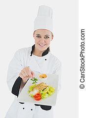 chef cuistot, nourriture, femme, sain, plaque, tenue