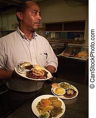 chef cuistot, nourriture, plaqué