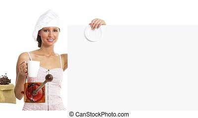 chef cuistot, panneau affichage, café, femme