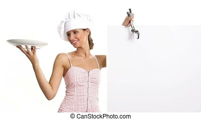 chef cuistot, panneau affichage, projection, femme
