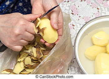 chef cuistot, peler, pommes terre