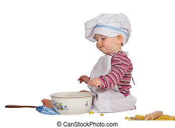 chef cuistot, peu, bol, satisfait, regarder, bébé, mélange