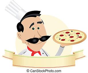chef cuistot, pizza, bannière, restaurant