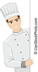 chef cuistot, planche, illustration, homme