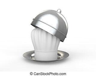 chef cuistot, plaque, chapeau, 3d