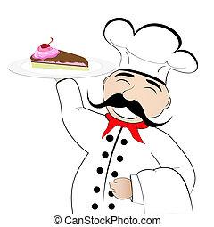 chef cuistot, plaque, gâteau