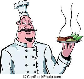 chef cuistot, plaque, nourriture