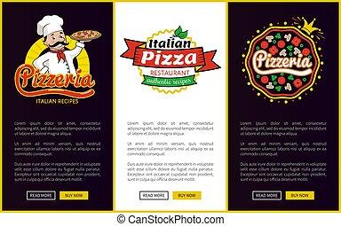 chef cuistot, plaque, pizzeria, vecteur, illustration