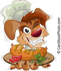 chef cuistot, plaque, sourire, chien