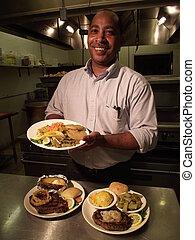 chef cuistot, plaques, nourriture, affichages