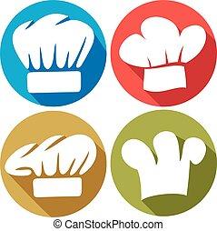chef cuistot, plat, chapeau, icônes