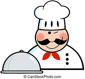 chef cuistot, plat, logo, winked