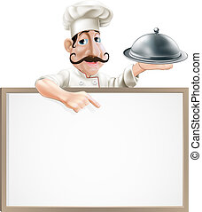 chef cuistot, plat, pointage, signe