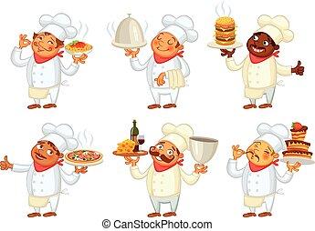 chef cuistot, plat, servir