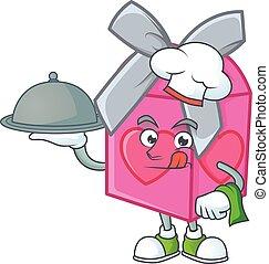 chef cuistot, plateau, rose, avoir, amour, cadeau, conception, dessin animé, nourriture