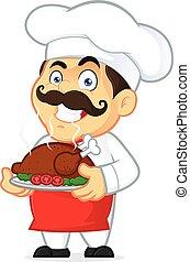 chef cuistot, poulet, cuit, tenue