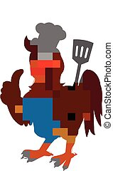 chef cuistot, poulet, dessin animé