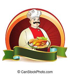 chef cuistot, poulet, fumé