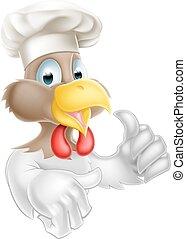 chef cuistot, poulet, pouces haut