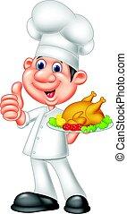 chef cuistot, poulet, rôti