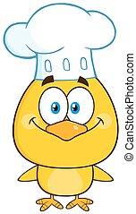 chef cuistot, poussin, sourire, jaune