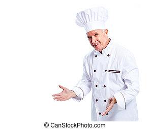 chef cuistot, professionnel, mûrir, man.
