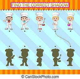 chef cuistot, professionnel, trouver, caractère, shadow., correct