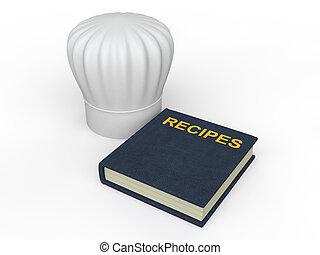 chef cuistot, recettes, livre, chapeau, 3d