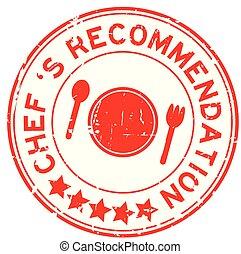 chef cuistot, recommandation, fond, rond, 's, blanc, grunge, rouges, cachet, timbre, caoutchouc