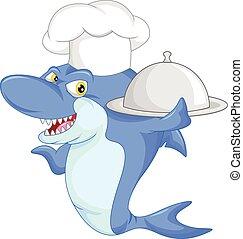 chef cuistot, requin, dessin animé