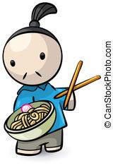 chef cuistot, saimin, présentation, baguettes chinoises
