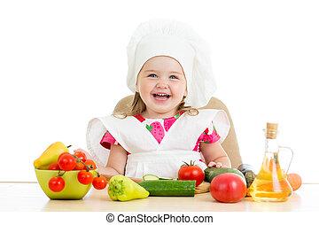 chef cuistot, sain, gosse, nourriture, préparer