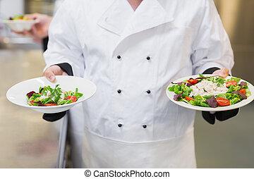 chef cuistot, salades, deux, tenue