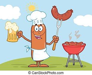 chef cuistot, saucisse, caractère, heureux
