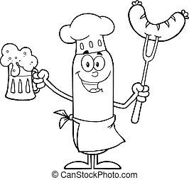 chef cuistot, saucisse, noir, blanc, heureux