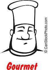 chef cuistot, sourire, dessin animé, amical