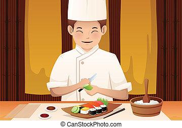 chef cuistot, sushi, fonctionnement, restaurant