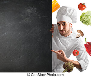 chef cuistot, tableau noir