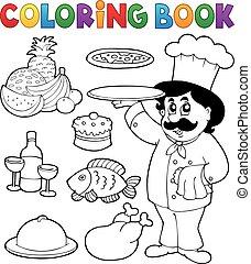 chef cuistot, thème, livre coloration, 3