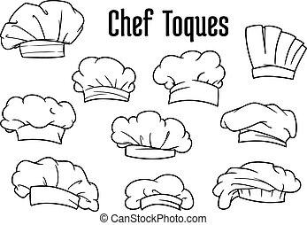 chef cuistot, toques, blanc, ensemble, casquettes