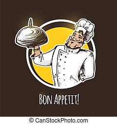 chef cuistot, vecteur, dish., illustration, restaurant