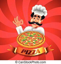 chef cuistot, vecteur, fond, pizza, dessin animé, rouges, italien