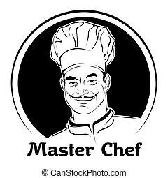 chef cuistot, vecteur, illustration